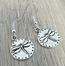 Silver Dragonfly Earrings Round Dragonflies Animals Present Gift Drop Hook