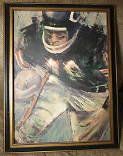 1966 DAVID BOSS Framed CHICAGO BEARS Paint on Canvas NFL Soldier Field Art 16x22