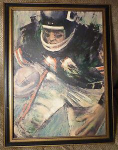 1966 DAVID BOSS Framed CHICAGO BEARS Paint on Canvas NFL Soldier Field Art 16x22