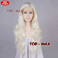 """24"""" Long White Curly Synthetic Hair Lace Front Wig Lady Heat Resistant + Wig Cap"""