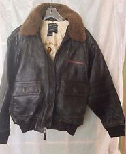 NOS Avirex G-1 Leather Bomber US Navy Solid Brown Jacket - Size S