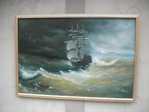 Ship/Sea Oil Painting Signed  Helen Prince  Estate