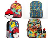 Pokemon Boys School Backpack Lunch box Book Bag Kids Gift Toy Pikachu squirtle