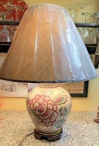 VTG Porcelain Ginger Jar Table Lamp Ethan Allen Floral Peony Brass wood Footed