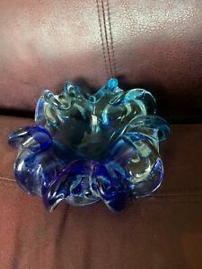 Vintage Oball Murano signed  Italian Somnerso Glass Floral candle Bowl