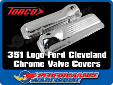 351 LOGO FORD CLEVELAND CHROME STEEL VALVE ROCKER COVERS PAIR