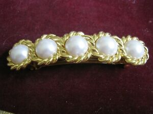 """Five Golden Rope Circles w/ White Mabe' Pearls Made in France 3 3/4"""" Barrette"""