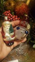 NEW in Box Vintage set of 2  Santa ,Snowman Ornament Blown Glass