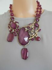 Amethyst Faceted Stone Statement Necklace -UK SELLER