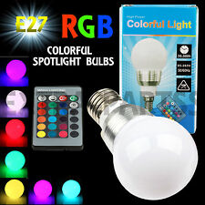 2x 3W E27 LED RGB Light Bulb 16 Colors Changing With Wireless Remote Control