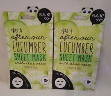 Lot of 2 Oh K Korean Beauty After Sun Cucumber Sheet Mask with Aloe Vera