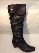 Marco Tozzi Black Knee High Leather Boots Size 39