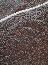 King Size Shams, Pair ~ Chocolate Brown Satin Swirled Quilting Taupe Trim & Back