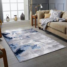 Modern Design Navy Grey Silver Small Large Bedroom Living Room Rug Runner Rugs