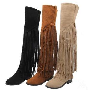 Women Low Heels Over The Knee High Thigh Boots Tassel Side Zipper Shoes Plus SZ
