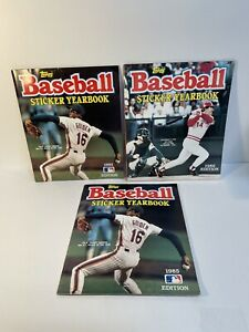 3 Vintage 1985 1986 TOPPS BASEBALL STICKER YEARBOOK   Mostly Filled