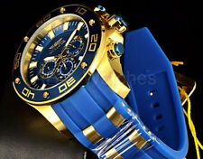 26087 Invicta 50mm Men's Pro Diver Chrono Yellow Steel & Blue Band Watch