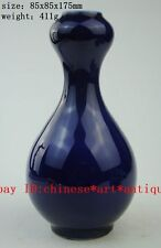 Chinese Antique hand engraving cyan Glaze old Vase / jiajing mark b02