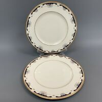2 Lenox Hartwell House Ambassador Collection Dinner Plates Cream Blue Gold