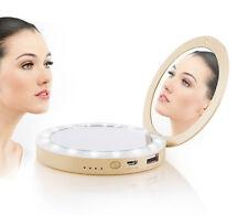 3000mAh Rechargeble Travel Folding 16 LED Light Handheld 1X and 3X Makeup Mirror
