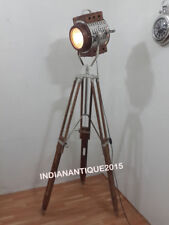 Beautiful Lamp Nautical Wooden Spot Search Light With Wooden Tripod Stand Decor