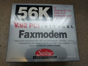 Sterling Communications 56K V.92 PCI Internal Fax Modem S20 FACTORY SEALED