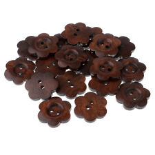 20pcs Flower Shape Wooden Buttons for Sewing Decoration Scrapbooking 23mm
