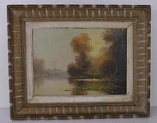 Tableau ancien peinture huile du peintre Darmont:  «les bois de la Vienne»
