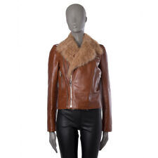 42578 auth GUCCI cognac brown leather SHEARLING BIKER Jacket 40 S