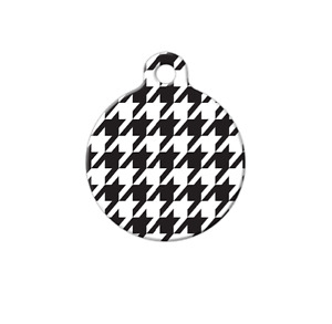 Pet ID Name Tag Houndstooth Pattern Personalised Custom DOG CAT Name Tag