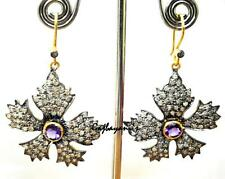 Superb Victorian Style Purple Amethyst & Rose Cut Diamond Gold Silver Earring