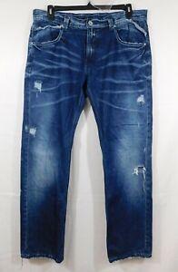 Gently Used Takeshy Kurosawa Blue Distressed Jeans, Sz. 38