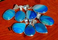 REVISE Natural Blue Lace Botswana Agate Gemstone 925 Sterling Silver Pendants
