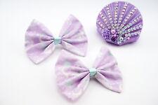 Lilac Kawaii Pastel 2.0 Galaxy Nebular Handmade Medium Hair Bow Clip Fairy Kei