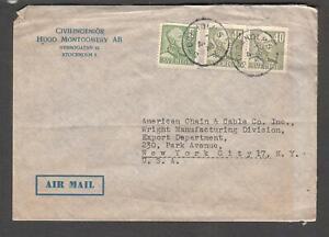 Sweden 1948 cover Civilingenior Hugo Montgomery AB Stockholm to New Tork