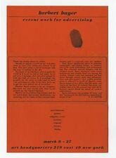 1942 Herbert Bayer RECENT WORK FOR ADVERTISING Exhibition Announcement Bauhaus