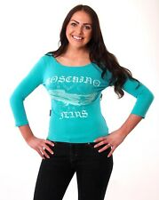 MoschinoJeans Aqua Long Sleeved Super Soft Cotton Cadillac Hearts Top UK12 NICE!