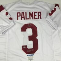 Autographed/Signed CARSON PALMER Heisman 02 USC White College Jersey Beckett COA