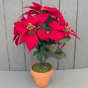 Artificial Poinsettia Plant in Pot