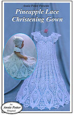 Crochet Pineapple Lace Christening Gown for Baby