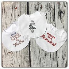 PERSONALISED Baby Bib Islamic Muslim New Gift ANY SAYING Eid Boy Girl