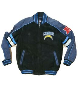 G-III APPAREL San Diego Chargers Varsity Suede Leather SEWN Jacket, Sz. L~ MINT