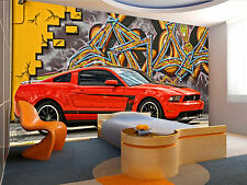 Photo Wallpaper Red  Mustang GIANT WALL DECOR PAPER POSTER FOR BEDROOM