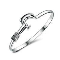 Fashion Charm Women 925 Silver Plated Dolphin Bangle Cuff Bracelet Jewelry Gift