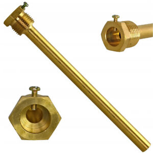 """Thermowell Brass G 1/2"""" Thread for Temperature Sensor Immersion Sleeve Pocket"""
