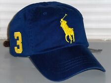 POLO RALPH LAUREN Mens Big Pony Chino Baseball Cap Hat LEATHER STRAP, Royal Blue