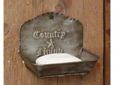 """PRIMITIVE """"COUNTRY LIVING"""" SET OF 2 TIN SOAP DISH CADDY HOLDER"""