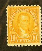 US Stamps # 591 10c Monroe VF OG NH Fresh Scarce Perf 10