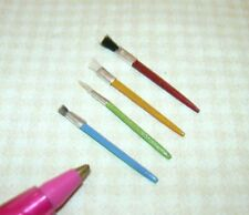 Miniature Set of 4 Loose Artist's Paint Brushes w/REAL Bristles! DOLLHOUSE 1:12