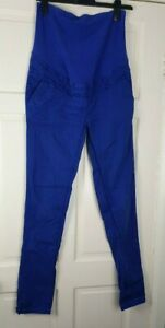 MAMA H&M Maternity Blue Stretch Jean Cargo Over Bump Trousers Size EUR 38